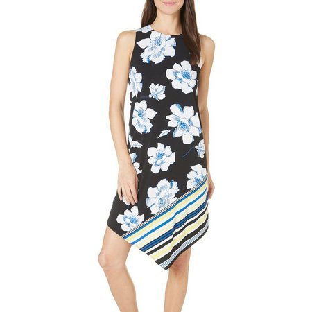 London Times Petite Floral Asymmetrical Hem Dress