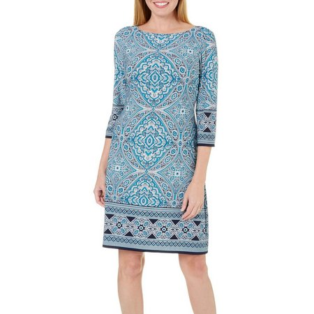 London Times Petite Printed Boat Neck Shift Dress
