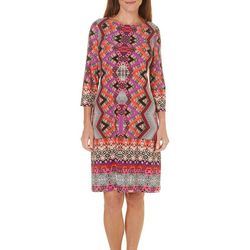 London Times Petite Chevron Print Shift Dress