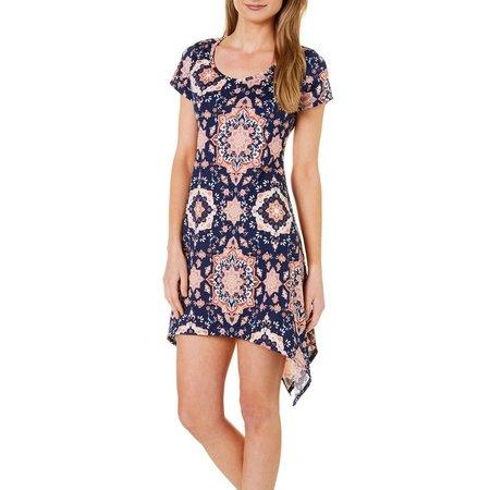 French Atmosphere Petite Kaleidoscope Print T-Shirt Dress