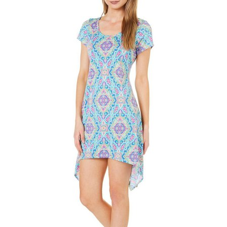 French Atmosphere Petite Geo Print T-Shirt Dress