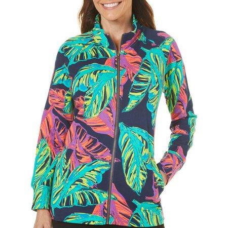 SunBay Petite Leaf Print Mock Neck Jacket