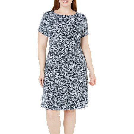 Connected Apparel Plus Chainlink Print Dress
