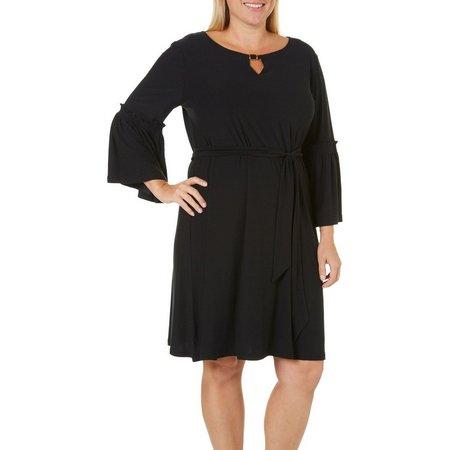 Allison Brittney Plus Solid Bell Sleeve Dress