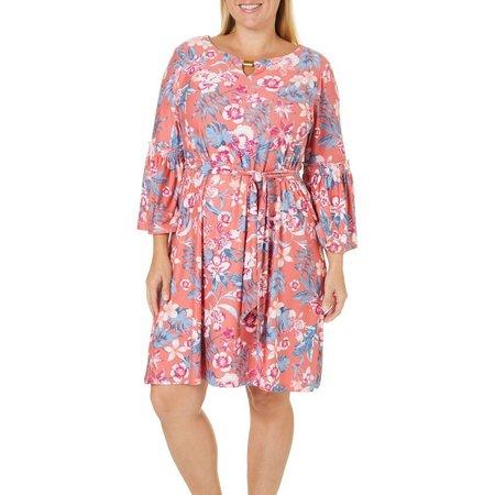 Allison Brittney Plus Floral Print Bell Sleeve Dress