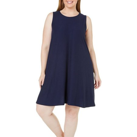 Allison Brittney Plus Swing Solid Sleeveless Dress