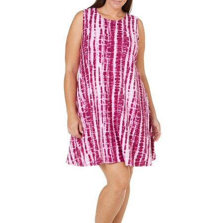 Allison Brittney Plus Swing Tie Dye Print Dress