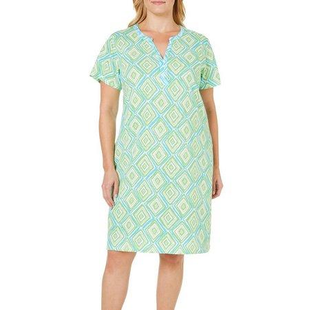 Caribbean Joe Plus Geo Diamond Print Shift Dress