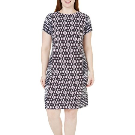 London Times Plus Ikat Printed Shift Dress