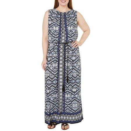 London Times Plus Chevron Print Mix Maxi Dress