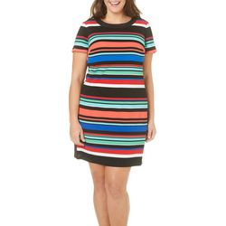 London Times Plus Striped Shift Dress