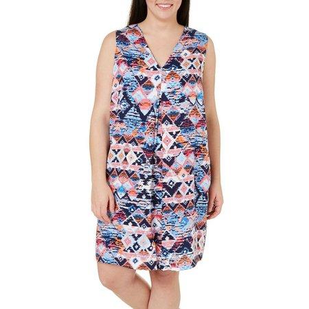 Beige Plus Geo Aztec Printed Shift Dress