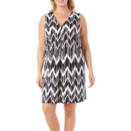 Beige Plus Chevron Printed Shift Dress