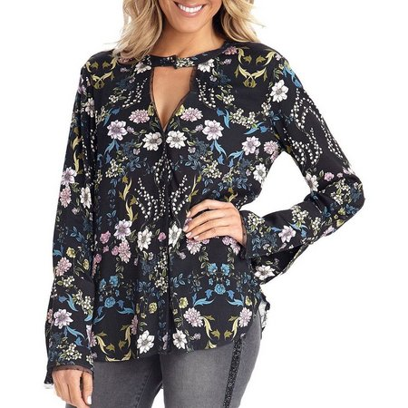 Democracy Womens Floral Choker Neck Bell Sleeve Top