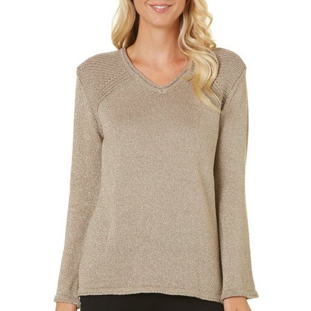 Democracy Womens Ribbed Lurex Sweater