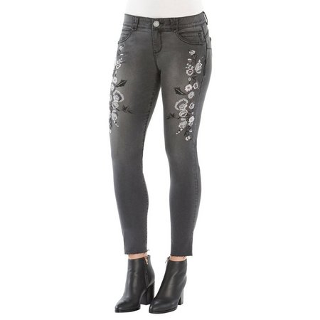 Democracy Womens Floral Embroidered Frayed Hem Jeans
