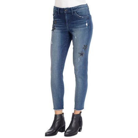 Democracy Womens Star Patch Frey Hem Jeans