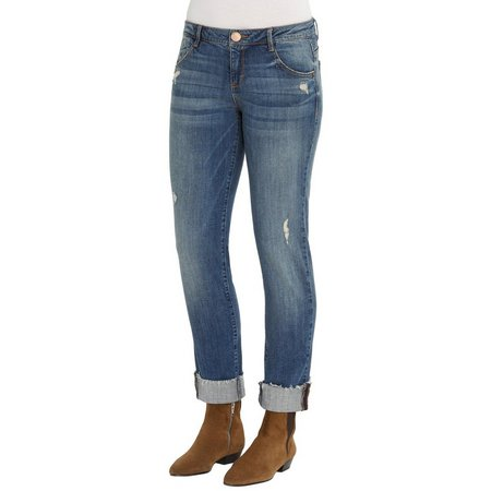 Democracy Womens Rolled Hem Destroyed Jeans