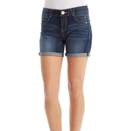 Democracy Womens Mid Thigh Medium Wash Shorts