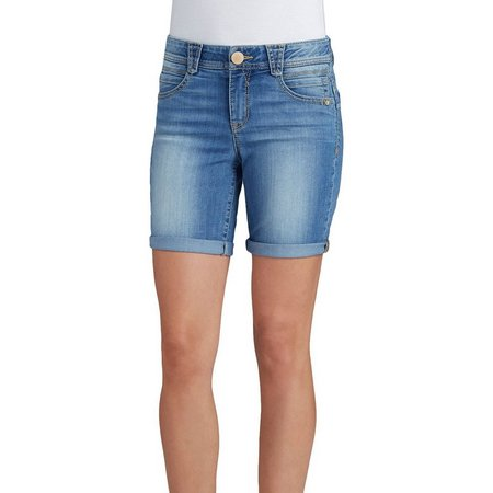 Democracy Womens Light Wash Faded Denim Shorts