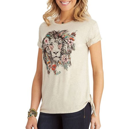 Democracy Womens Floral Lion Screen Print T-Shirt