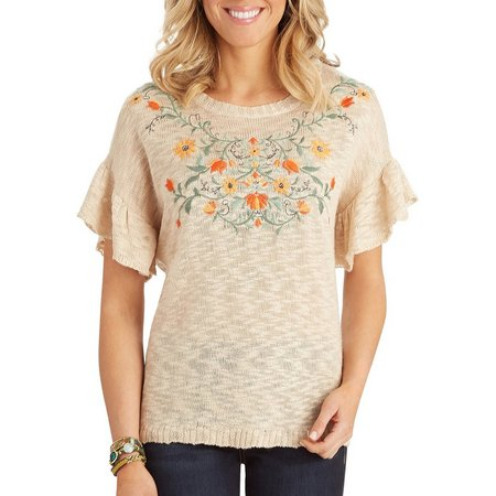 Democracy Womens Floral Embroidery Sweater