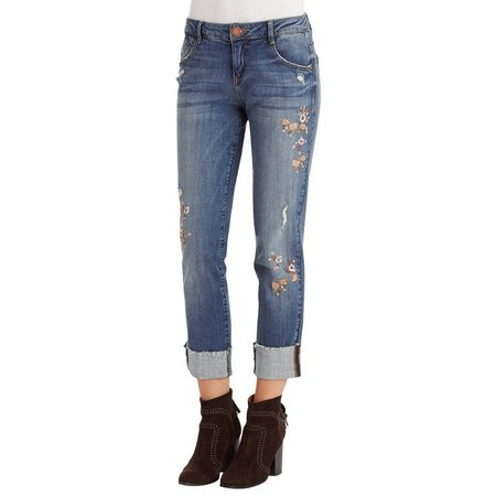 Democracy Womens Embroidered Girlfriend Jeans