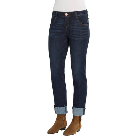 Democracy Womens Dark Wash Girlfriend Jeans