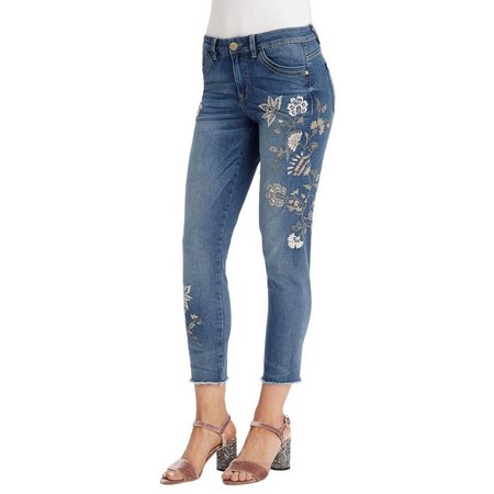 Democracy Womens Floral Embroiderd Ankle Jeans