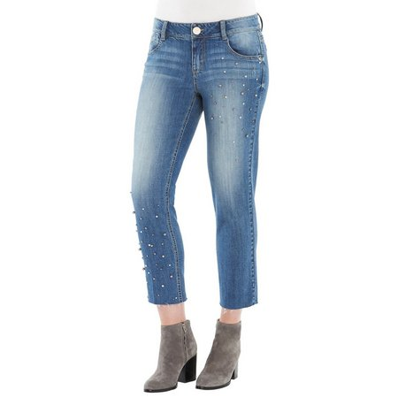 Democracy Womens Embellished Raw Hem Denim Ankle Jeans