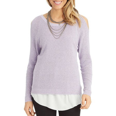 Democracy Womens Cold Shoulder Ribbed Top