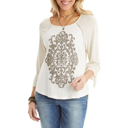 Democracy Womens Scroll Emboidered Tie Sleeve Top
