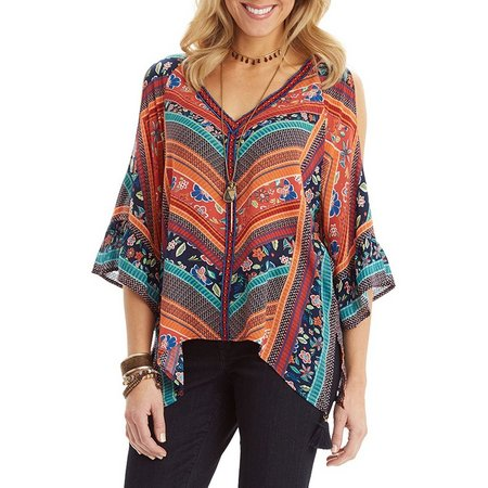 Democracy Womens Striped Cold Shoulder Top