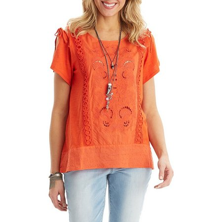 Democracy Womens Embroidered Cold Shoulder Tie Top