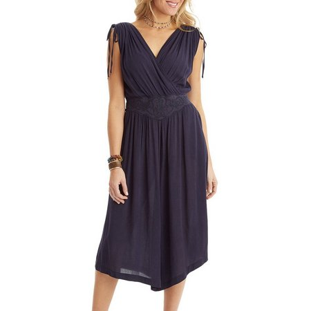 New! Democracy Womens Solid Smocked Waist Jumpsuit