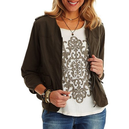 Democracy Womens Crochet Flap Pocket Jacket