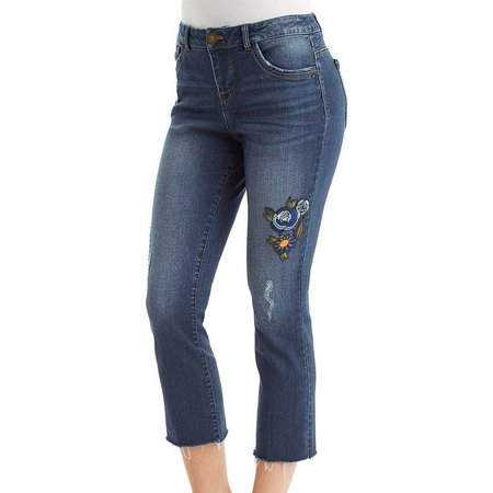 Democracy Womens Embroidered Denim Pants