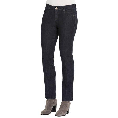 Democracy Womens Dark Wash Straight Fit Jeans