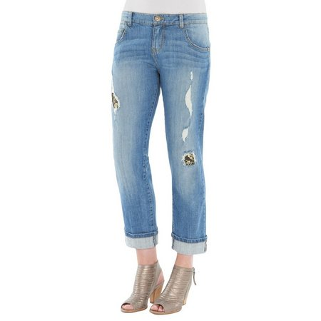 Democracy Womens Sequins Destructed Cropped Jeans
