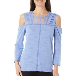 Democracy Womens Lace Cold Shoulder Top