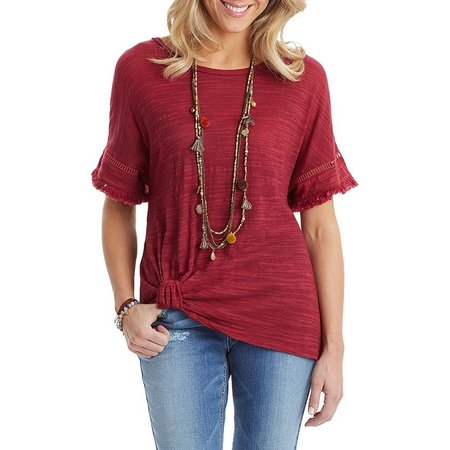 Democracy Womens Frayed Knot Front Top