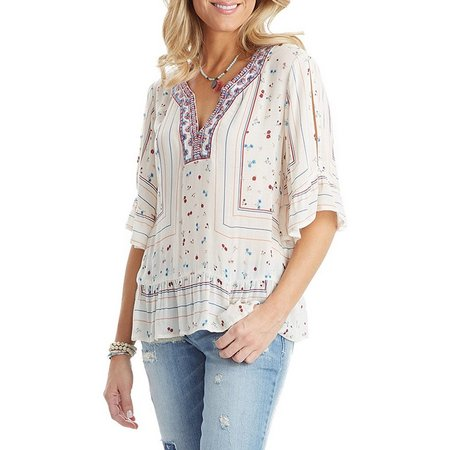 Democracy Womens Embroidered Cold Shoulder Top