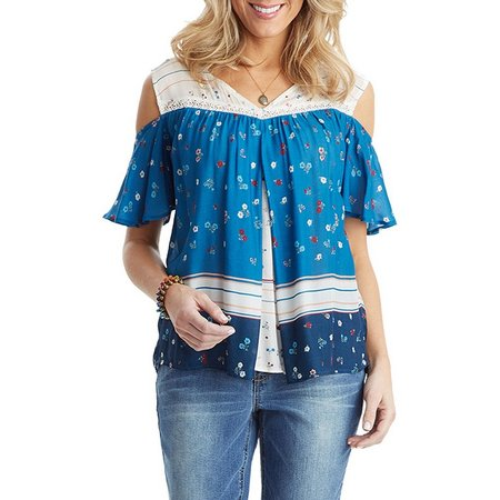 Democracy Womens Floral Cold Shoulder Top