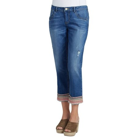 Democracy Womens Embriodered Hem Denim Capris