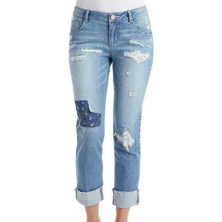 New! Democracy Womens Floral Patch Girlfriend Jeans