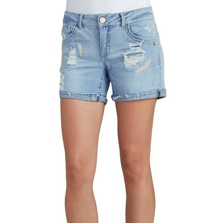 Democracy Womens Feather Embellished Denim Shorts