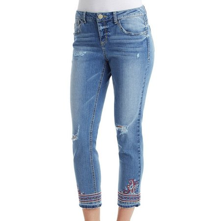 Democracy Womens Straight Leg Embroidered Jeans
