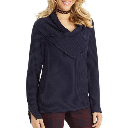 Democracy Womens Asymmetrical Cowl Neck Sweater