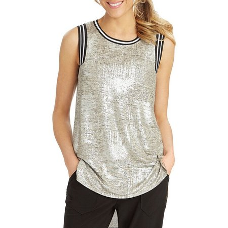 Democracy Womens Stripe Trim Shimmer Tank Top