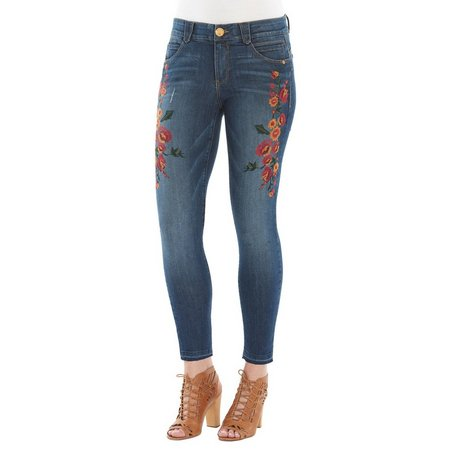 Democracy Womens Released Hem Floral Embroidered Jeans
